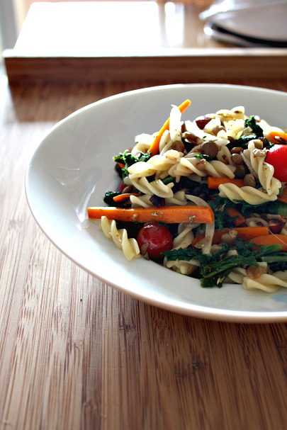 salada de pasta e lentilhas